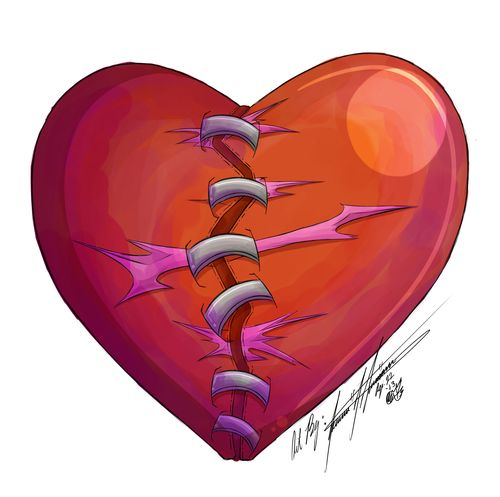 Broken Heart with Staples - Jessica Urmanec - veemontamer@yahoo.com